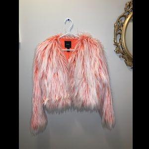 Faux Fur jacket. Ombré orange & white